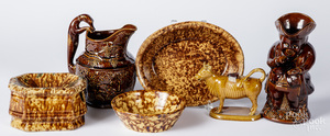 Group of Rockingham glazed wares