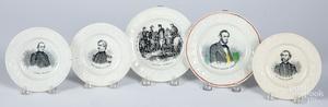 Five Staffordshire ABC plates