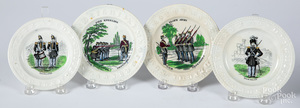 Four Staffordshire ABC plates