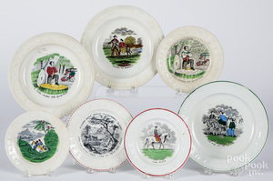 Seven Staffordshire ABC plates