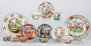 Staffordshire Salopian cup and saucer, etc.