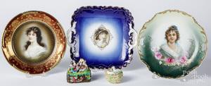 Three porcelain portrait plates, etc.