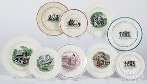 Nine Staffordshire ABC plates