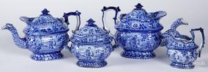 Blue Staffordshire tea and coffee service