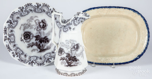 Pearlware blue feather edge platter, etc.