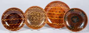 Four Stahl redware plates