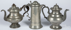 Two American pewter coffeepots, etc.