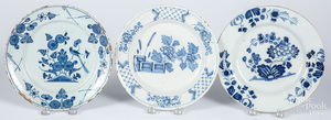 Six Delft blue and white plates