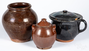 Three pieces American redware