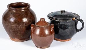 Three pieces American redware