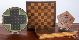Four painted gameboards, early 20th c.