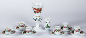 Group of enamel decorated opaque glass