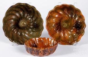 Three redware turks head molds, 19th c.