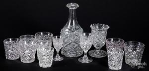 Diamond thumbprint colorless glass