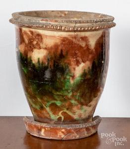 Large Shenandoah Valley redware flowerpot