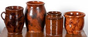 Four Pennsylvania redware jars and crocks