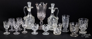 Large group of colorless glass stemware, etc.