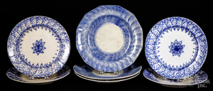 Seven blue spongeware and spatter plates