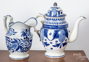 Pearlware coffeepot and pitcher