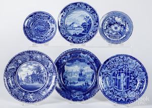 Six blue Staffordshire plates