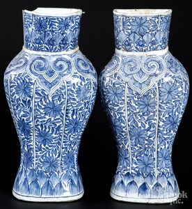 Chinese Qing dynasty blue and white pocket vases