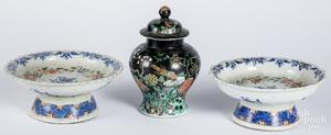 Chinese famille noir porcelain lidded urn, etc.