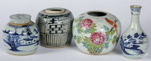 Three Chinese porcelain ginger jars, etc.