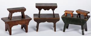 Seven miniature footstools