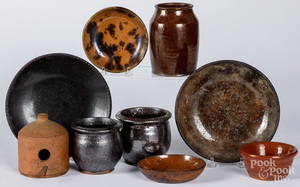 Nine pieces of American redware