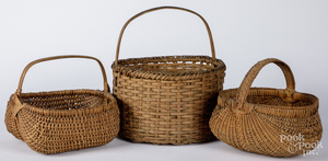 Three split oak baskets