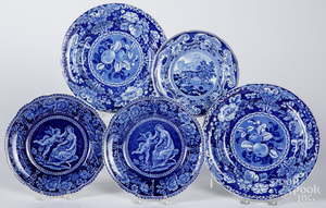 Five blue Staffordshire plates