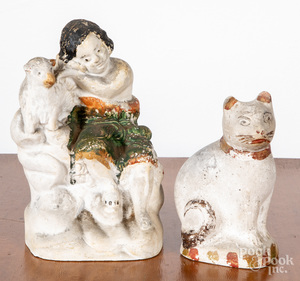 Pennsylvania chalkware cat and girl with lamb