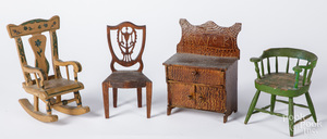 Three miniature painted chairs and a dresser