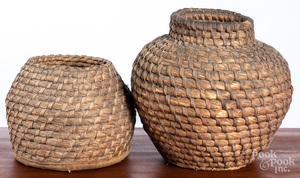 Two Pennsylvania rye straw baskets, 19th c.