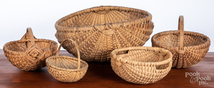 Five assorted baskets