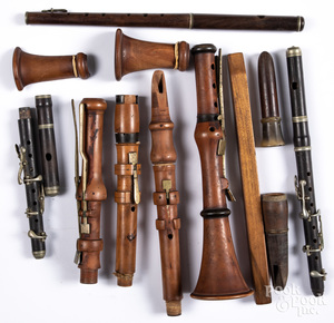 Group of early wood musical instruments