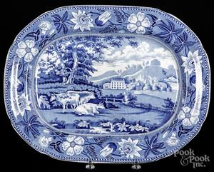 Blue Staffordshire English scenery platter