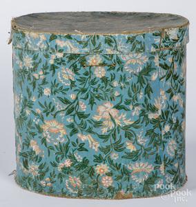 Wallpaper hatbox, 19th c.