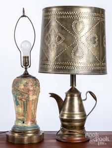 Tin coffeepot table lamp, Weller lamp
