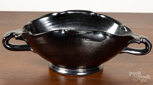 Redware two handled bowl, 19th c.