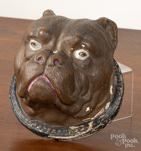 Chalkware bulldog head plaque