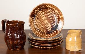 Six yellowware shallow dishes, etc.
