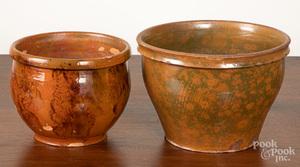Two Pennsylvania redware crocks, 19th c.