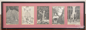 Five framed Dogear Wryde Postcards