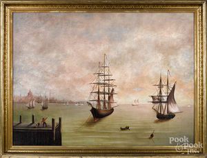 American oil on canvas harbor scene, mid 19th c.