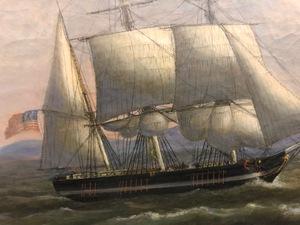Thomas Birch oil on canvas coastal scene
