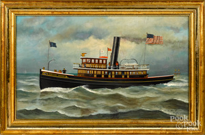 James Blackton oil on canvas of a tugboat