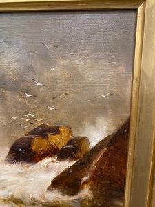 Edward Moran oil on canvas coastal scene