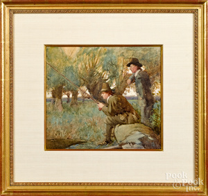 William Lee-Hankey watercolor of two men fishing