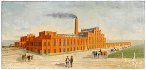 Oil on canvas of a brewery, ca. 1900